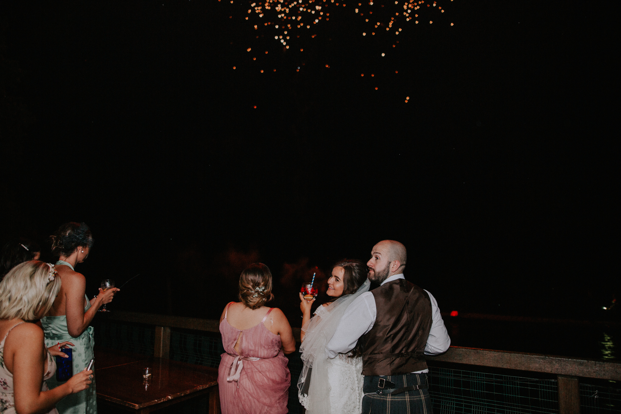 A wedding firework for the newlyweds at Venachar Lochside