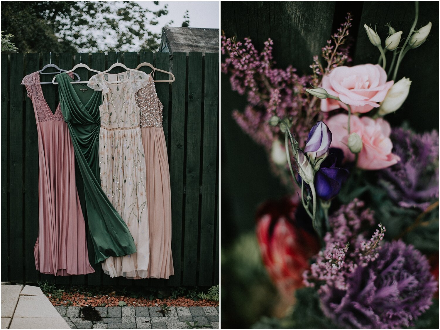 Bridesmaids alternative dresses are hanging outside of the bride's house and close up bridal bouquet
