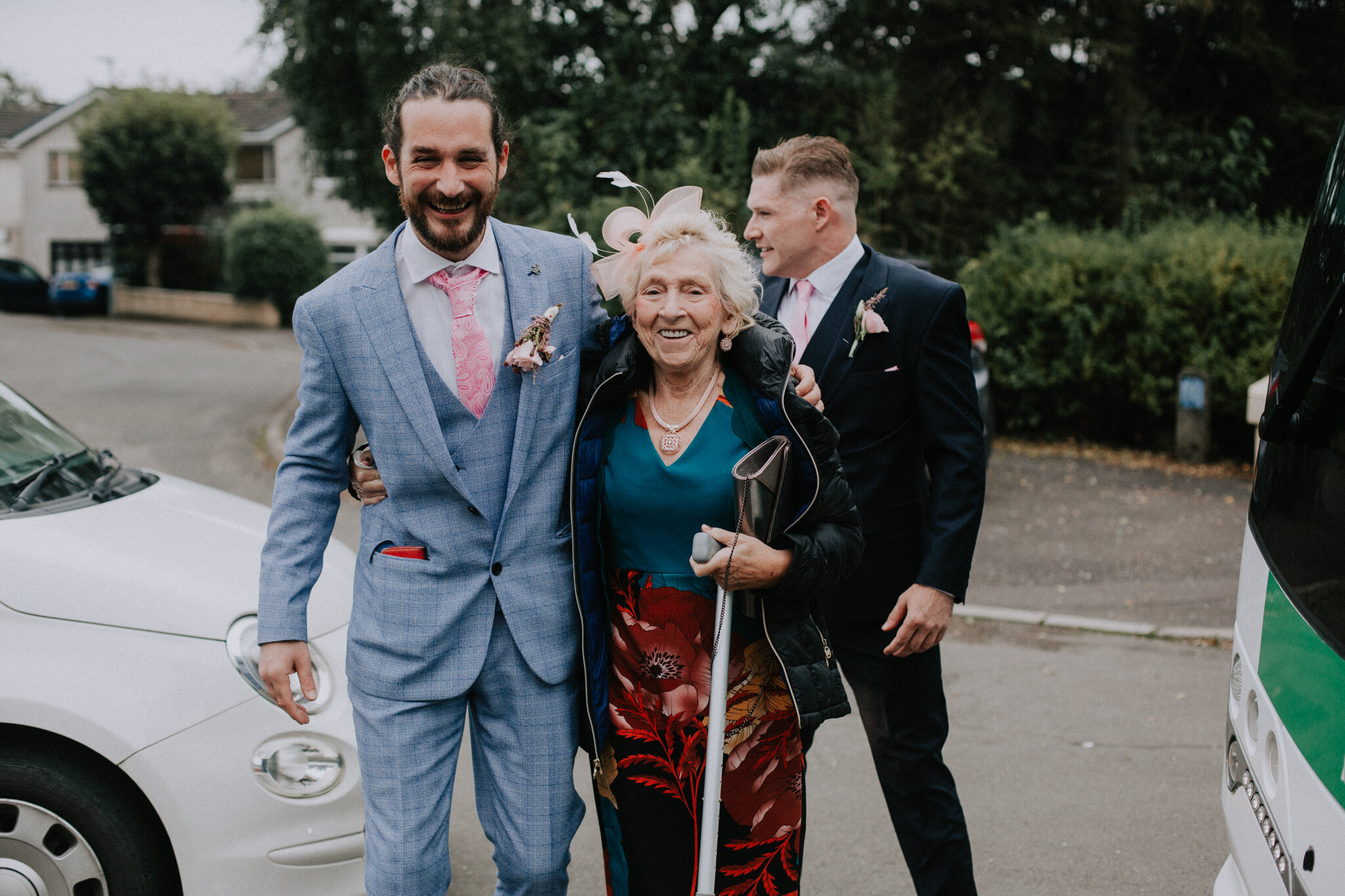 Granny with the groom are on the way to the wedding bus