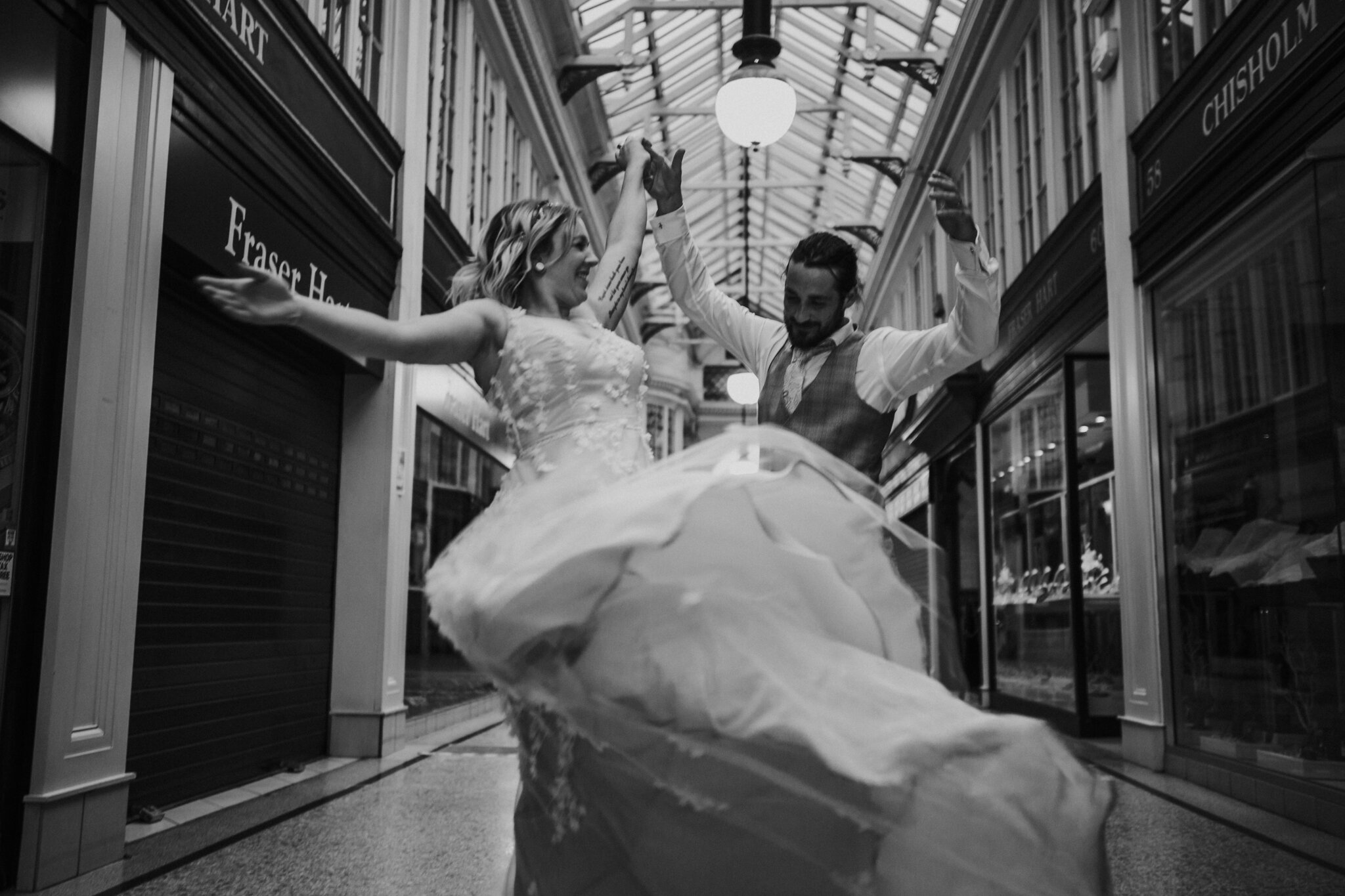 A wedding dress splash during the movement
