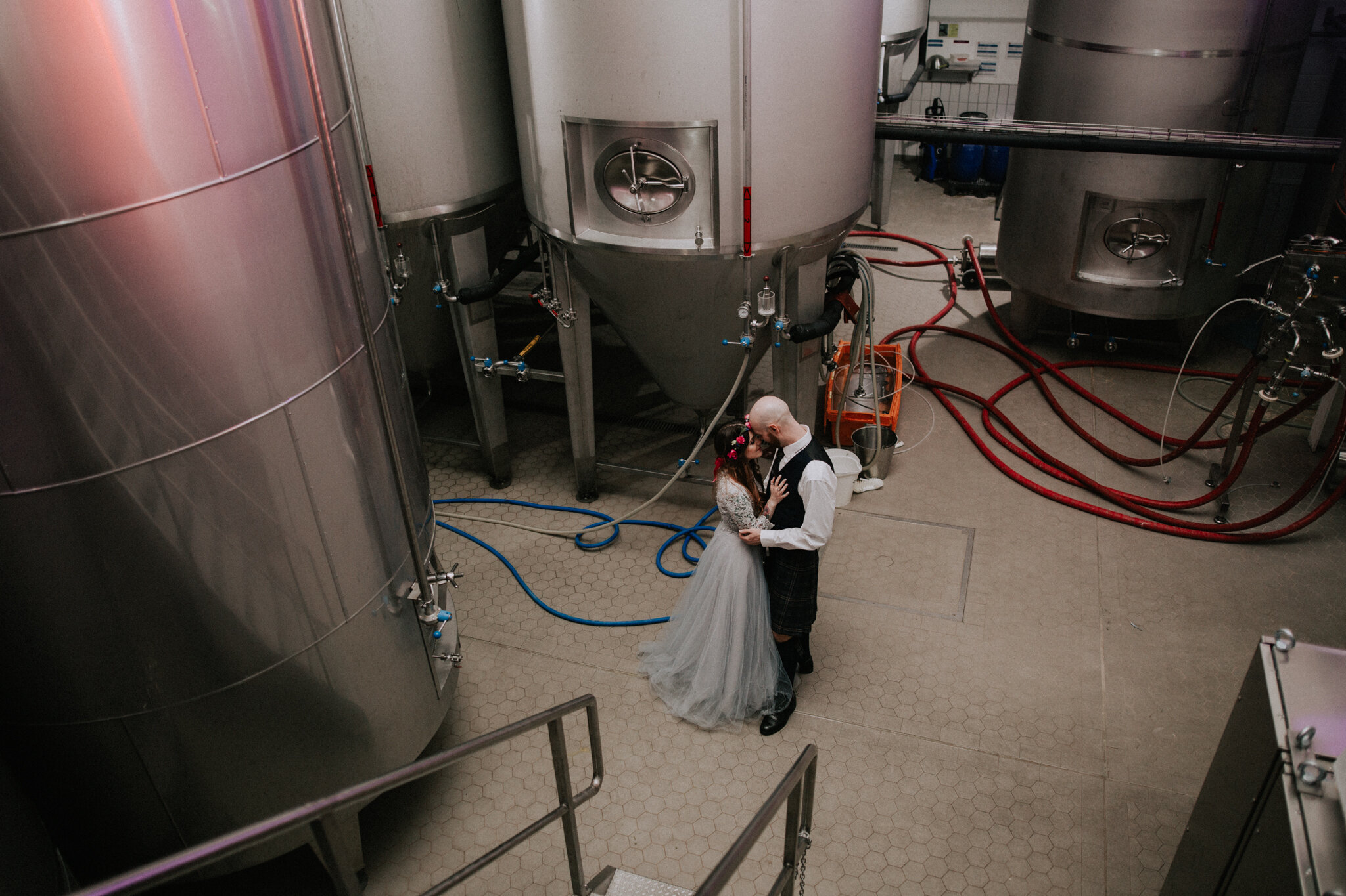 The couple shoot inside the brewery factory at West on the Green in Glasgow