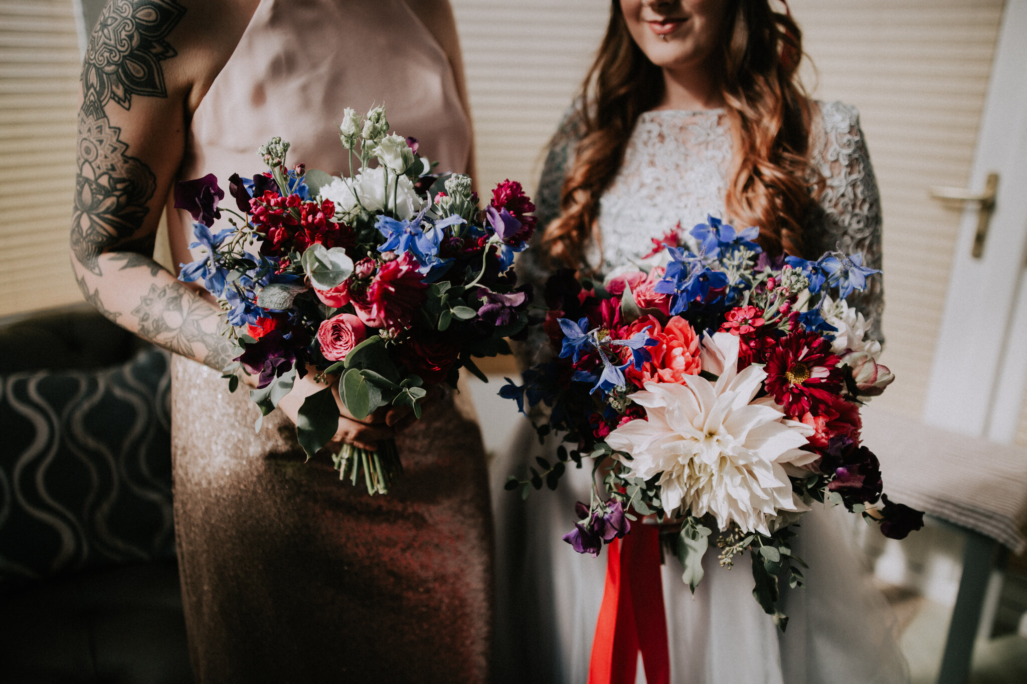 Close up shot of the wedding bouquets by the talented Little Botanica