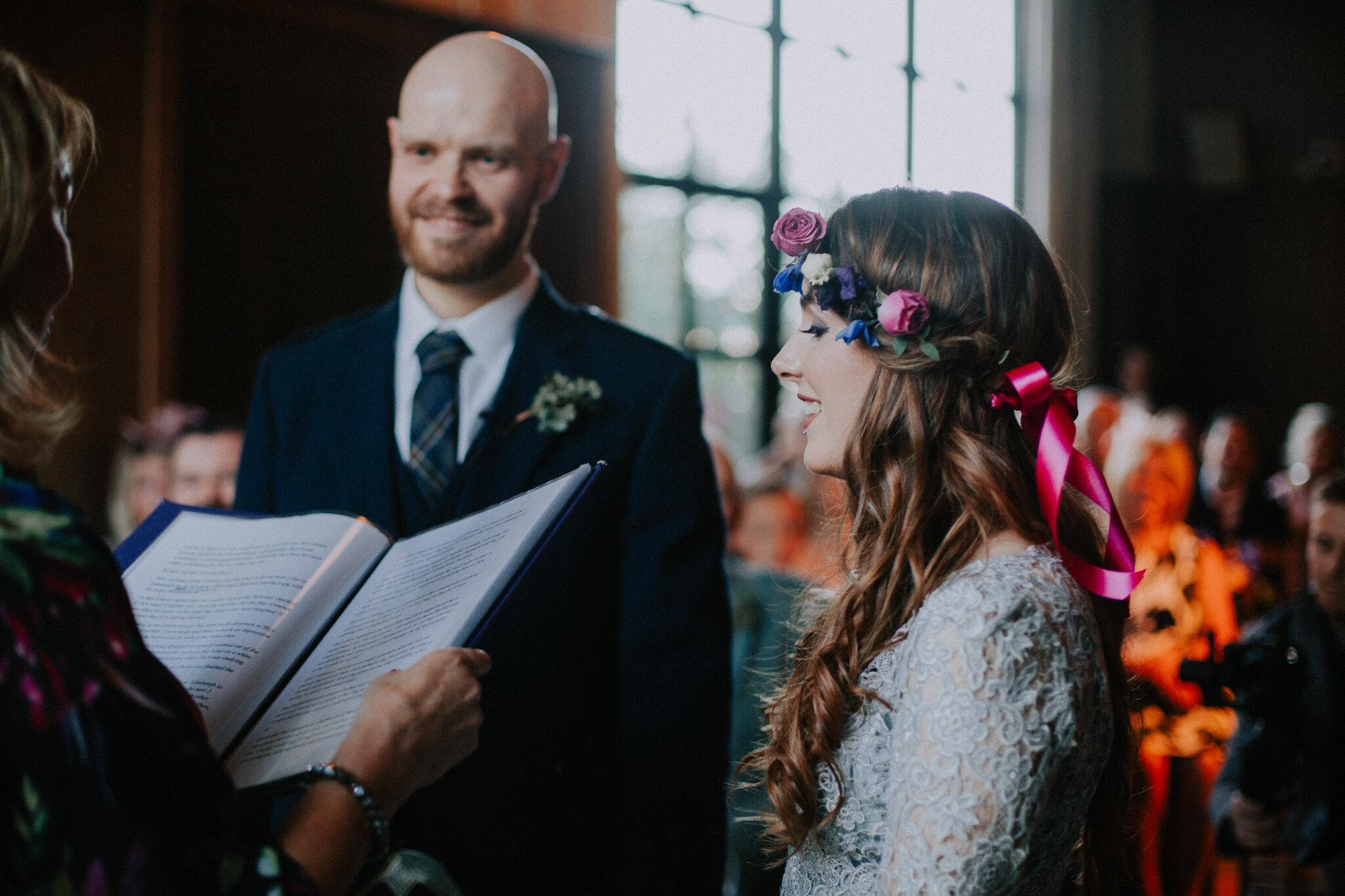 Close up shot of the bride and groom at the ceremony at West Brewery in Glasgow