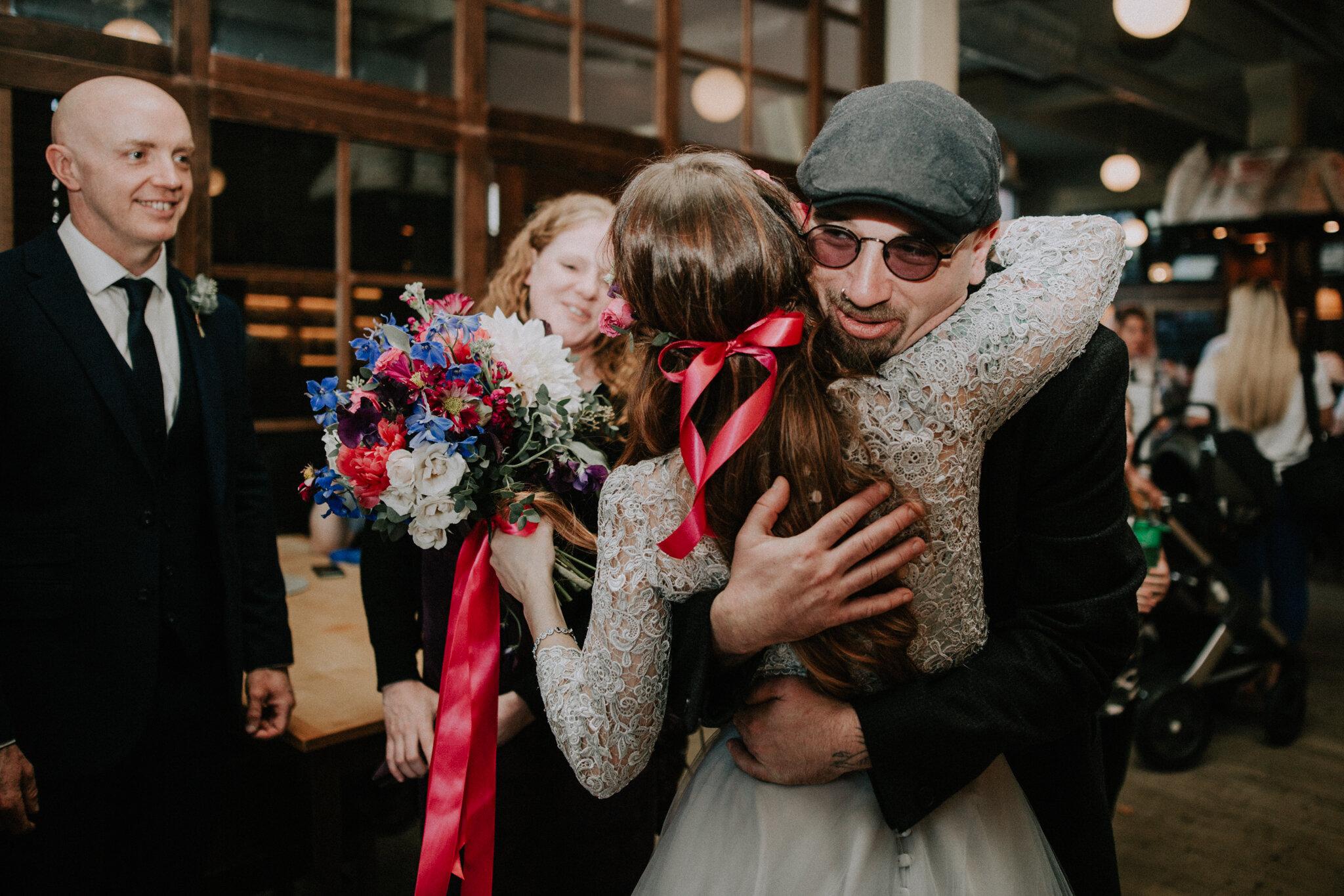 The guest congratulate the bride