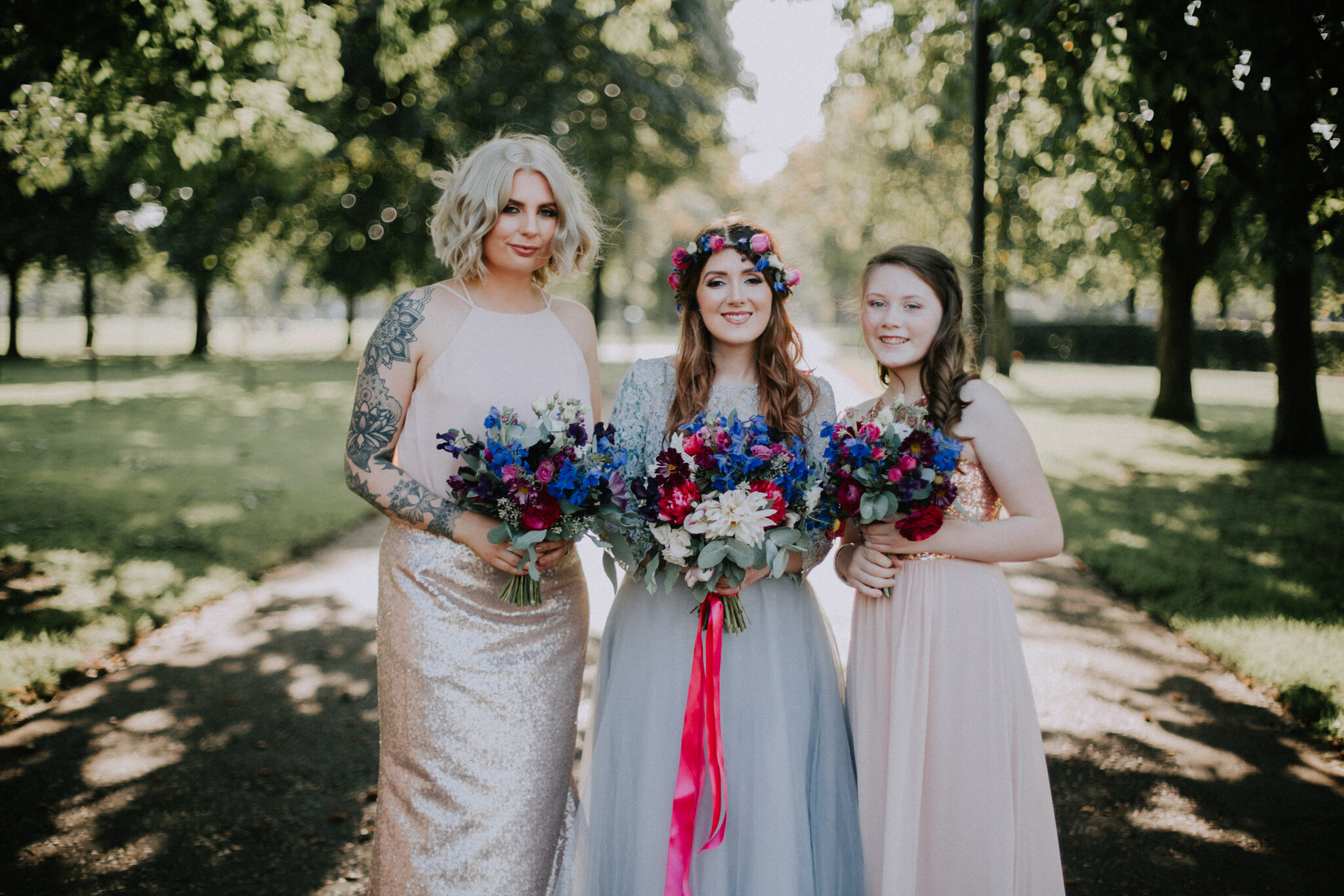 Girls bridal party photo in the Glasgow Green park