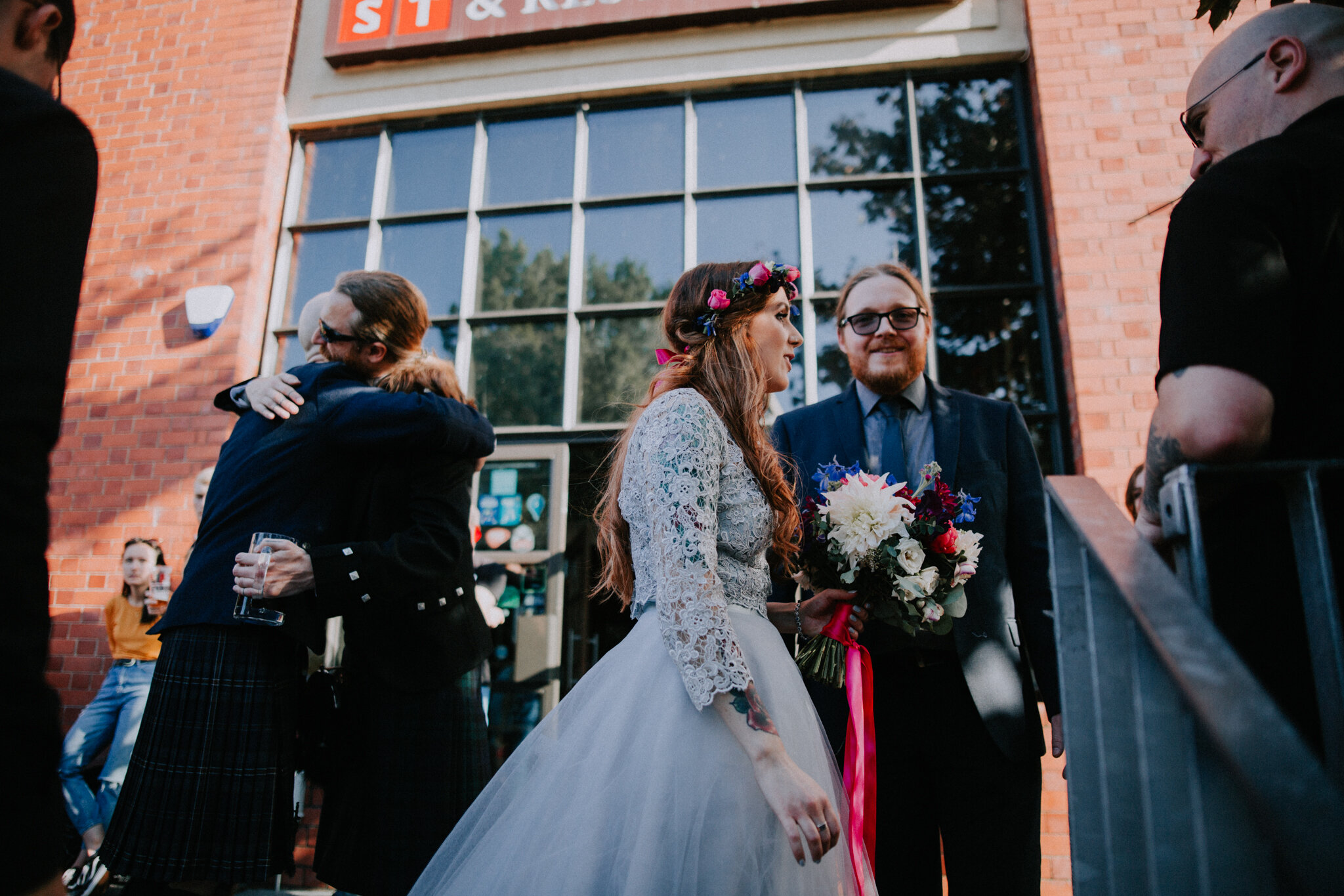 Candid photo of the bride and guests at West on the Green venue