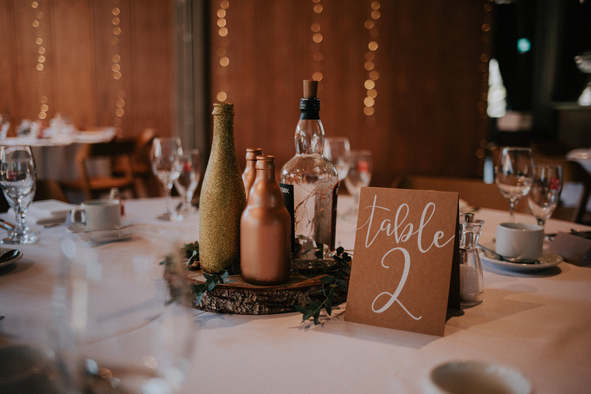 Close up details of the table decor at West on the Green
