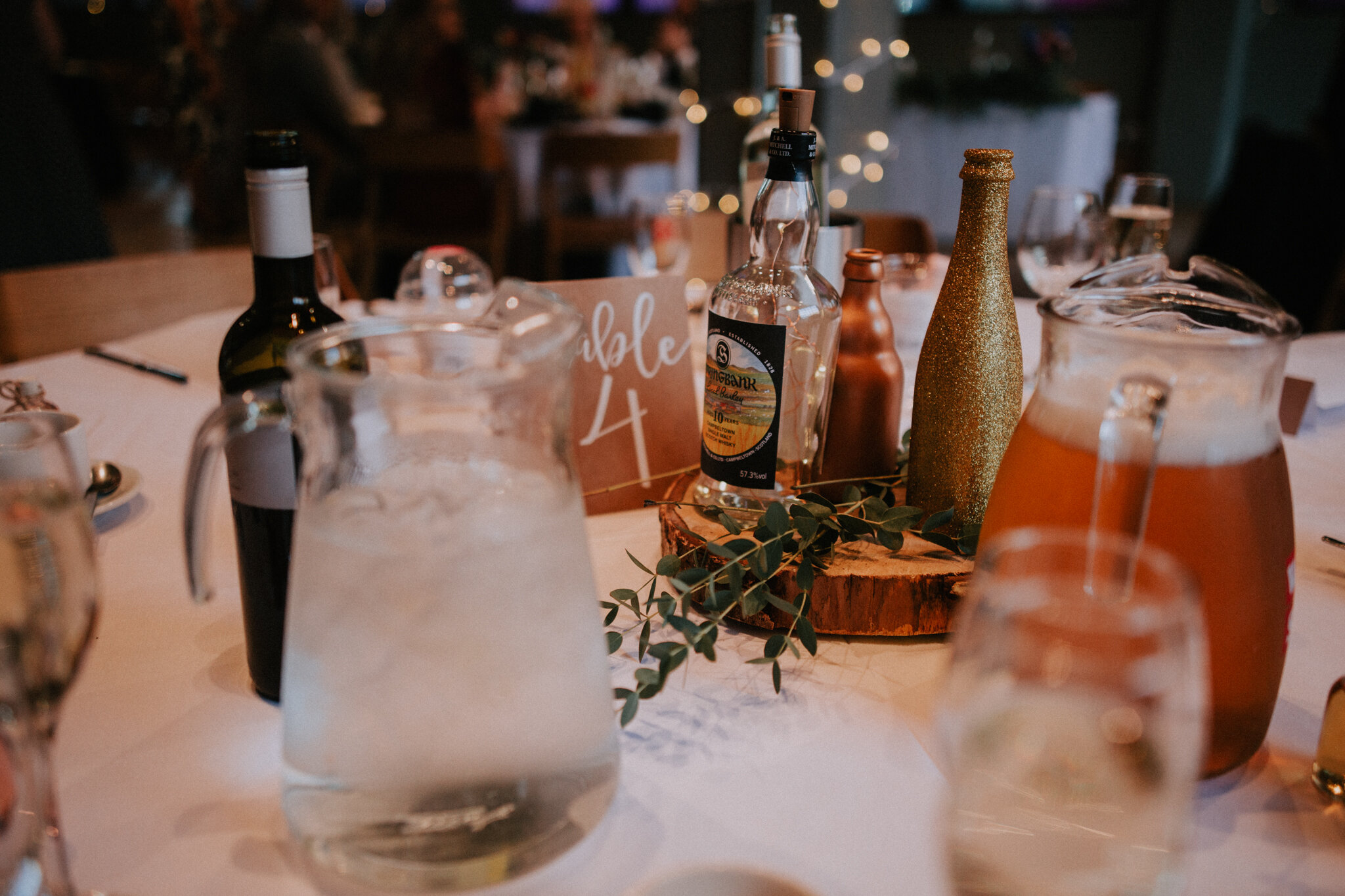 A rustic table decor at West on the Green in Glasgow