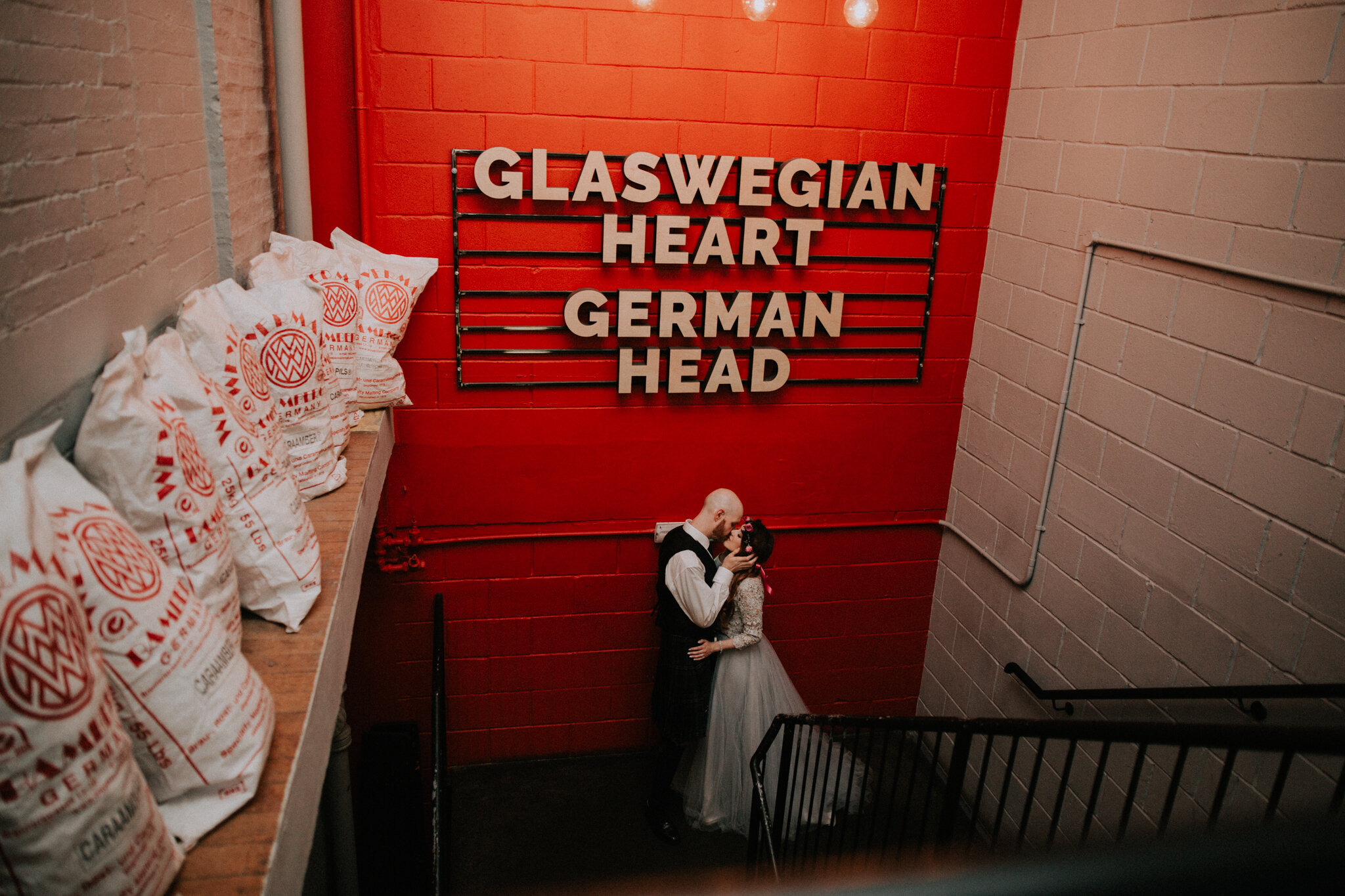 Glaswegian heart, German head newlyweds photo at West on the Green