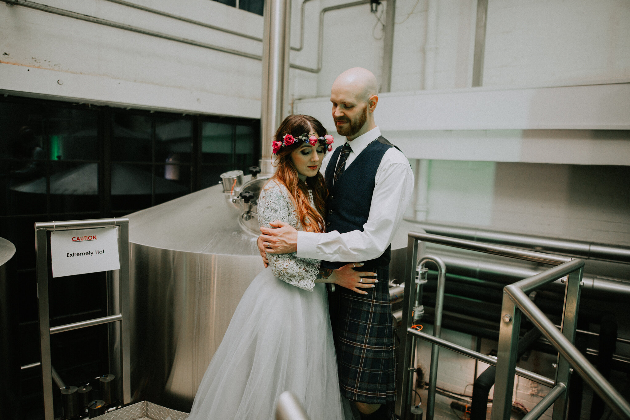 The alternative and industrial couple shoot inside the West Brewery