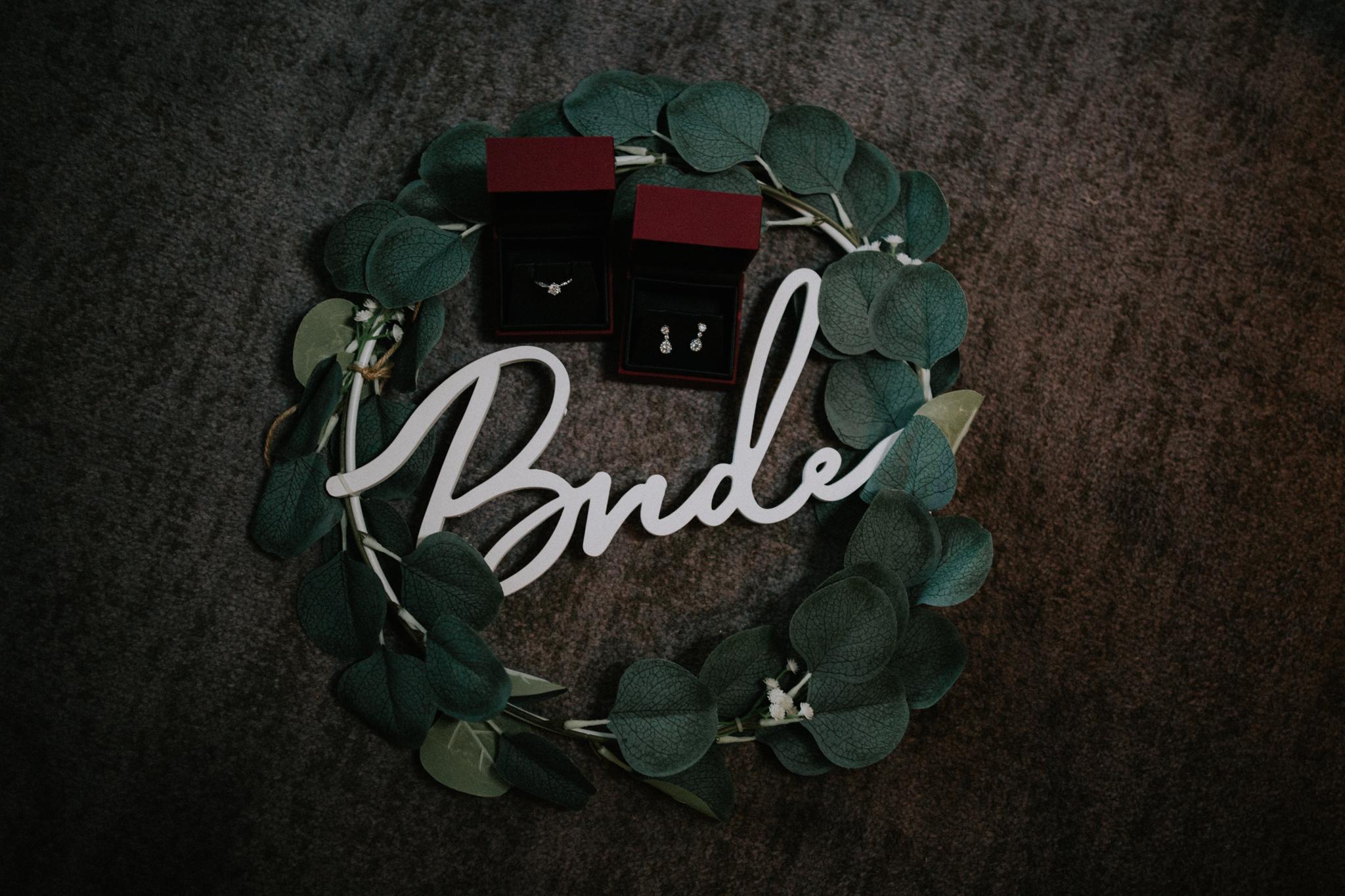 The bride's wedding jewellery shot at Dakota hotel