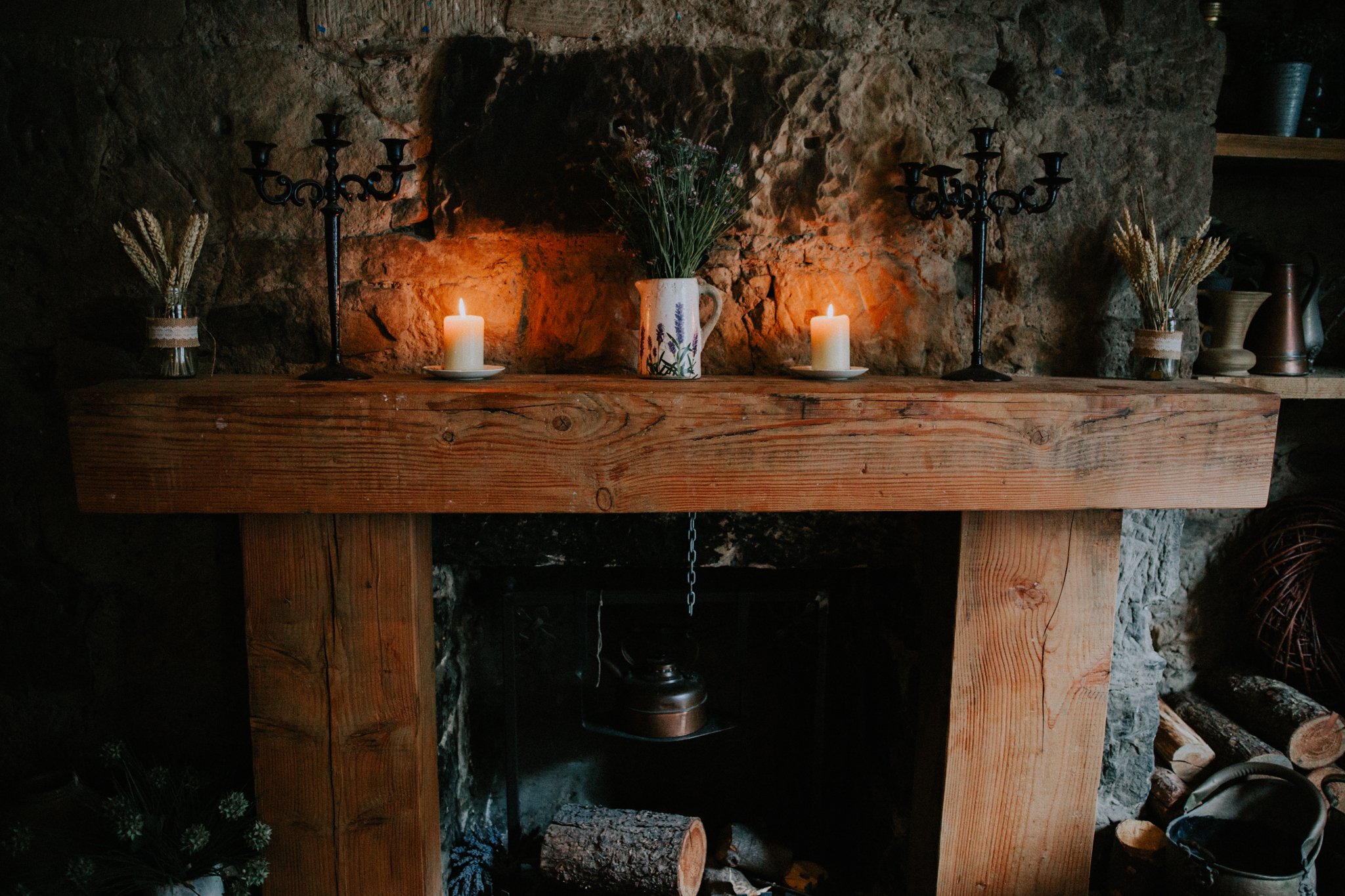 Rustic fire place details at the Bothy restaurant