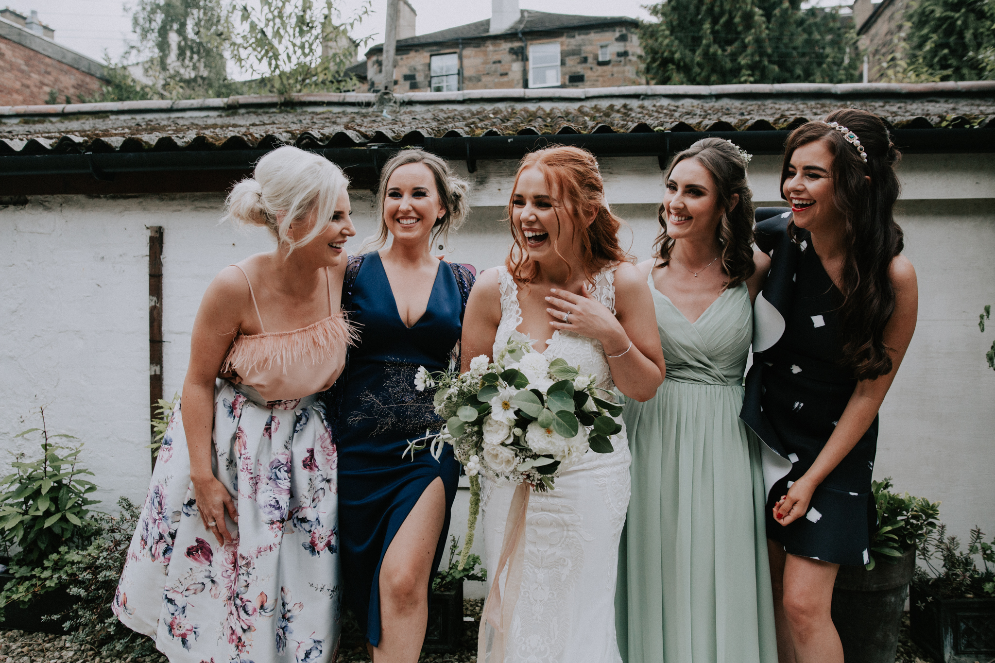 Bride and her friends happy photo