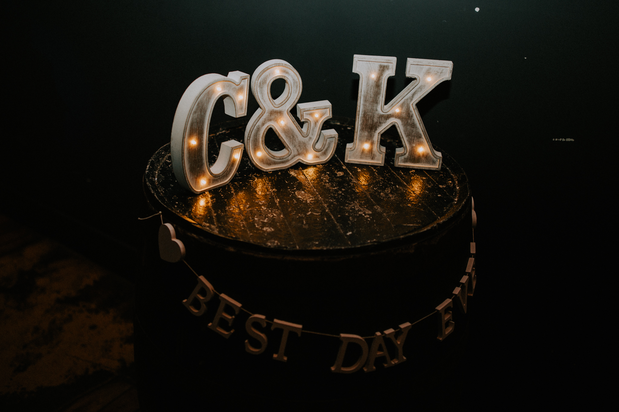 The big letters of the couple's names