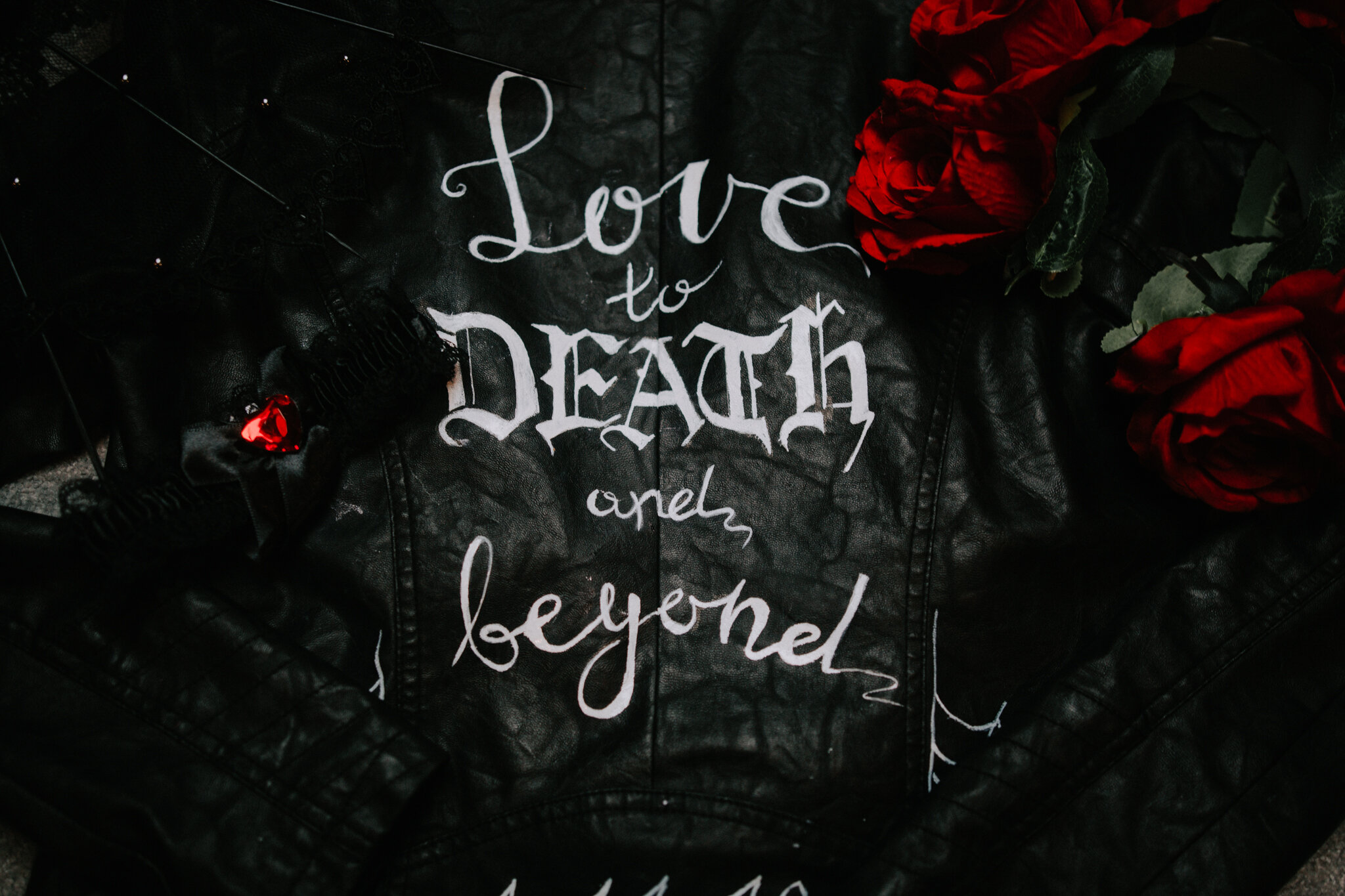 The leather jacket with the words on the back