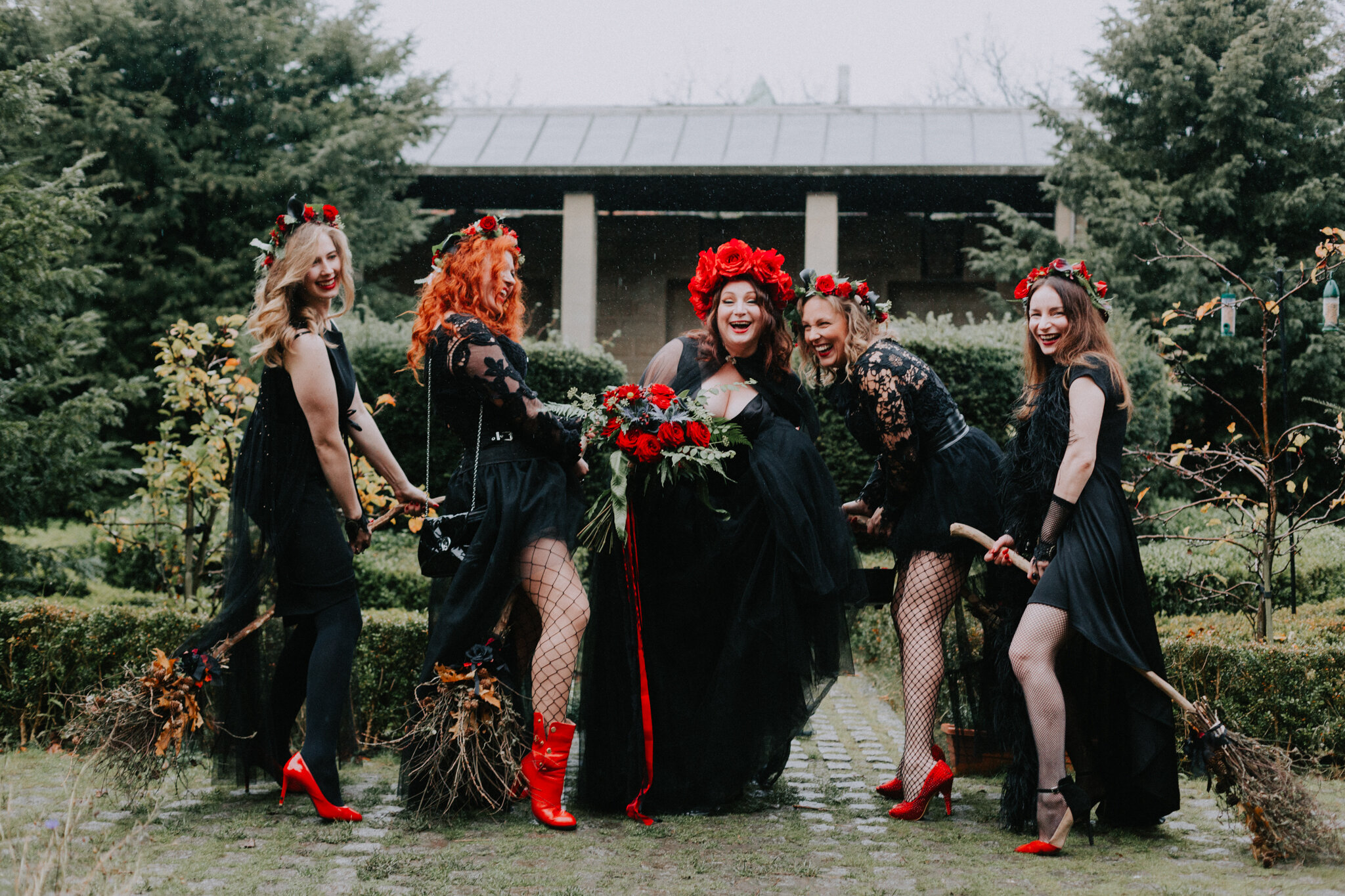 The Halloween bridal party is having a fun time together