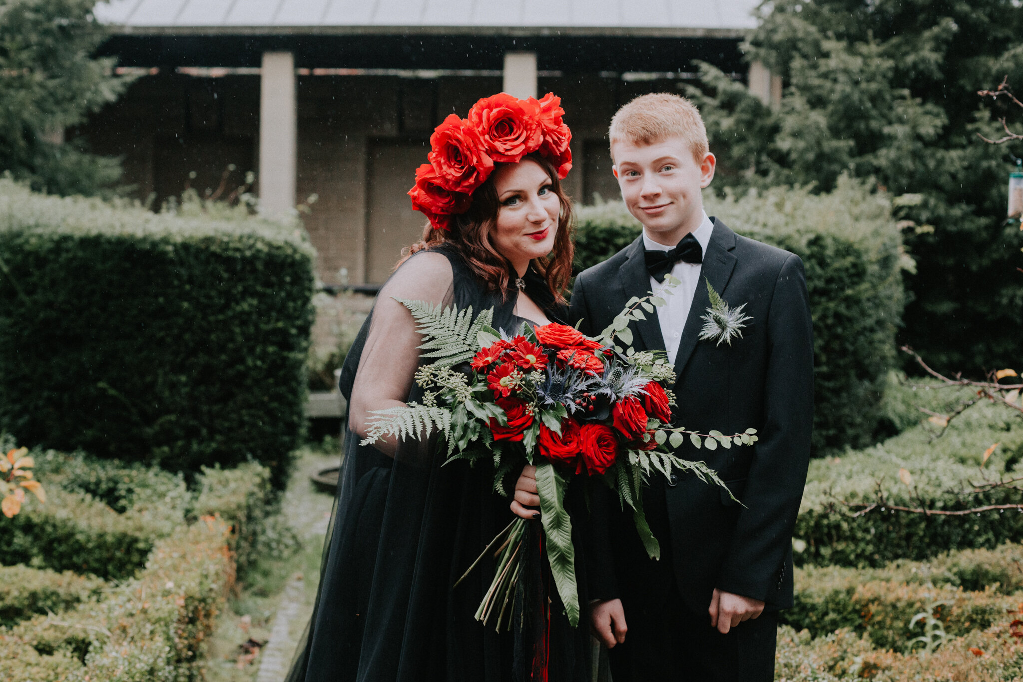 Mother and son wedding portrait