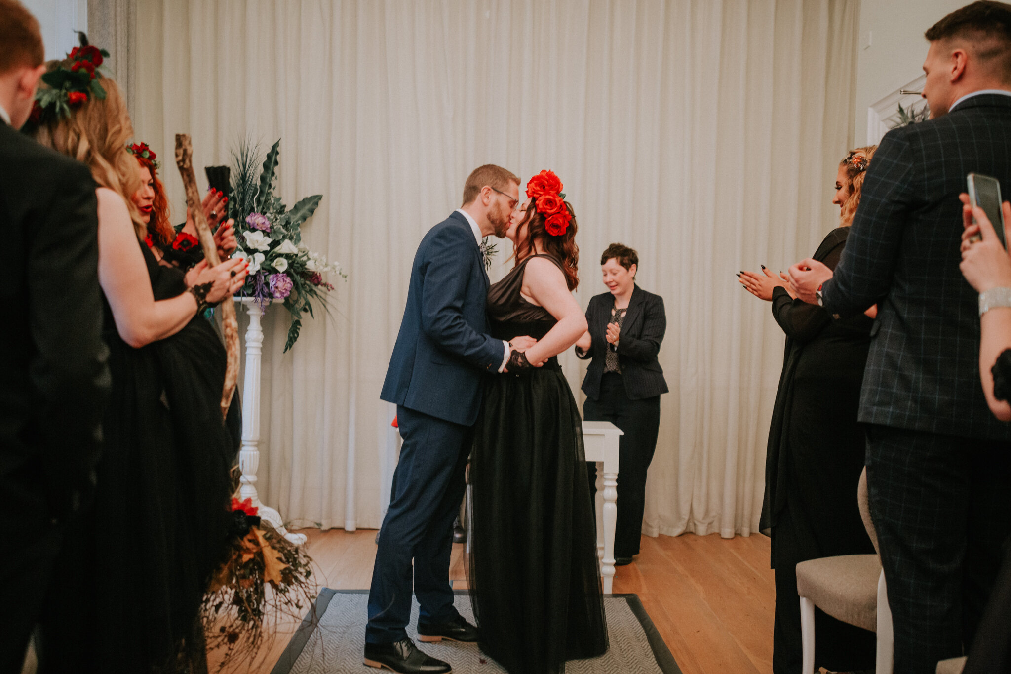 The first kiss as a husband and wife