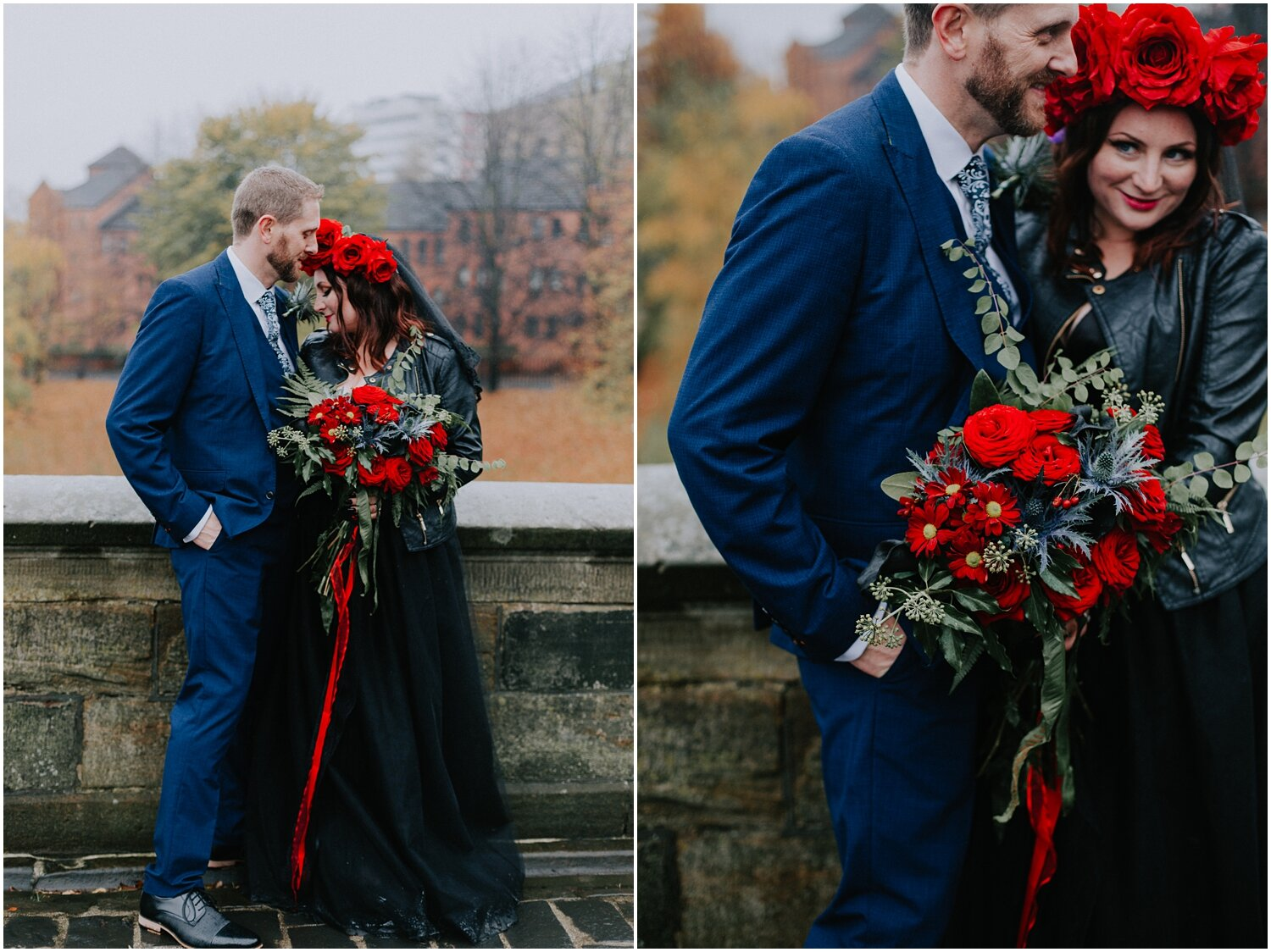 The couple is posing on the bridge of the Glasgow Cathedral