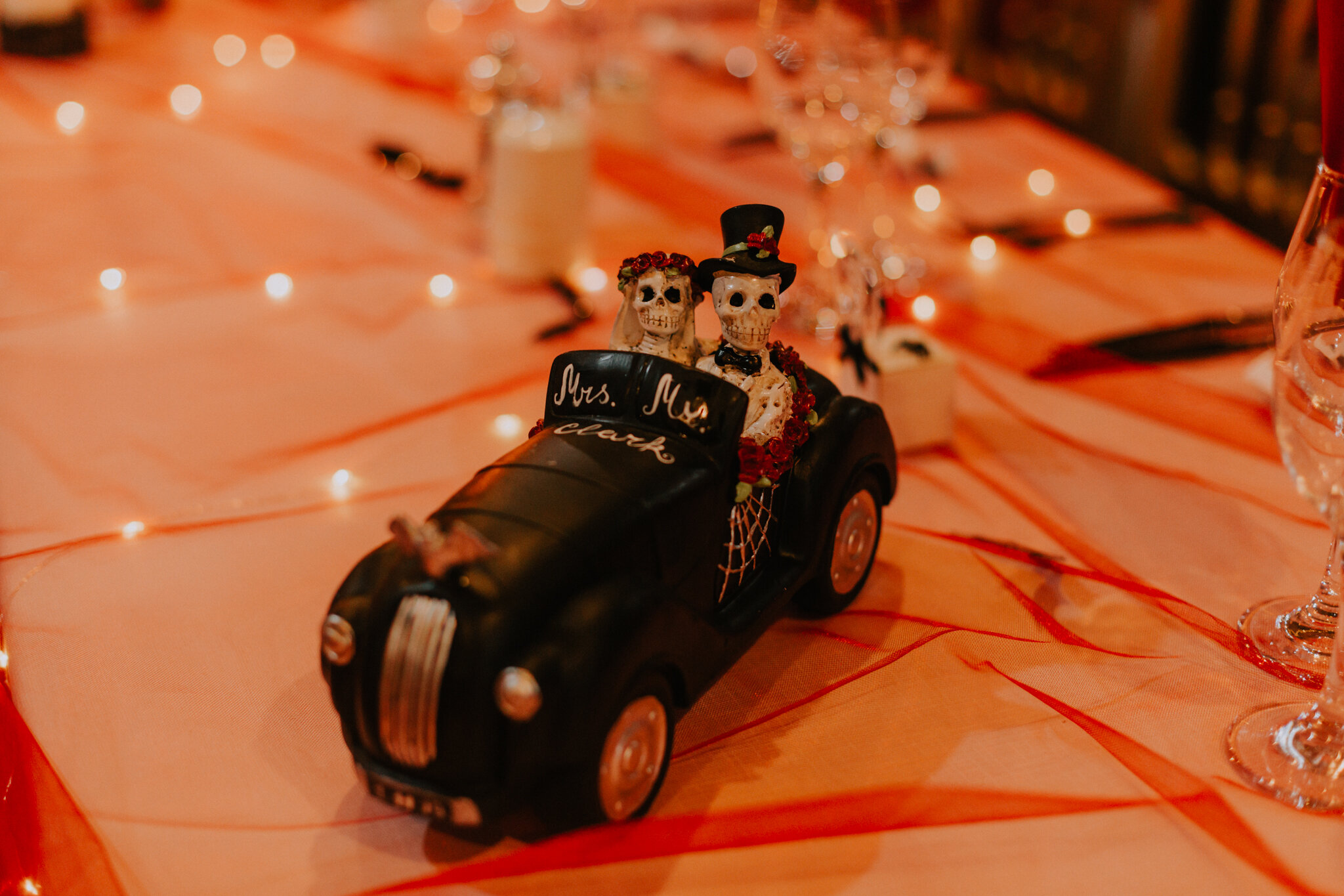 The toy car with skeletons table decor