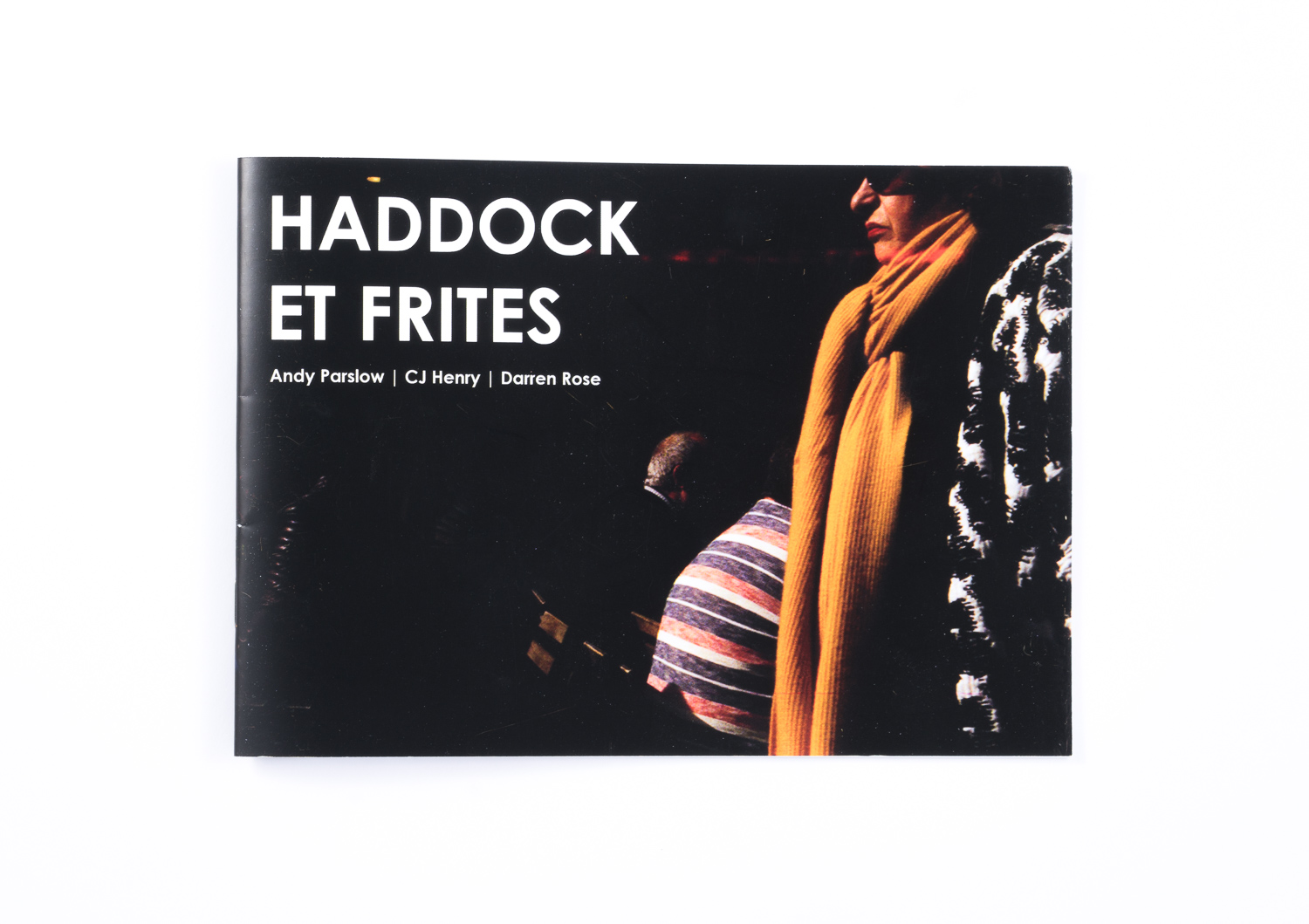 The front cover of Haddock Et Frites, our first zine. A5 landscape format.