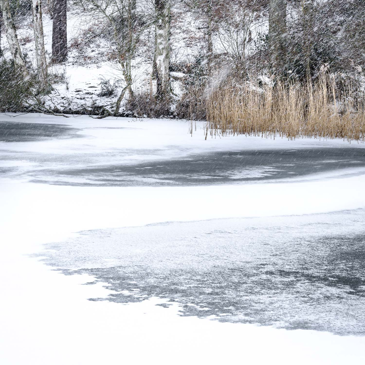 A rare site of Ice Patterns on the Lake at Stockgrove, with the snow continuing to fall heavily.
