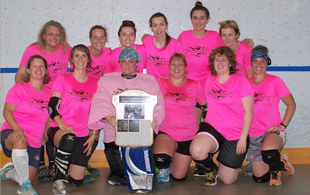 ©Submitted photo  Pizza Market captured the B Division of the Truro and Area Women's Ball Hockey League, defeating Blaikies Dodge Chrysler 3-2 in a shootout. Members of the winning team are, first row, from left, Erin Blois, Deanna Hatfield, Vanessa Campbell, Ellie Shipley-Landry, Ashley Weatherbee and Laura Purdy; second row, Lori Johnson, Andrea Ashton, Paige McNutt, Carleigh Hiltz, Amanda Dale and Cara Holly. Absent are Alicia Tompkins, Sarah Ritcey and Marie Harrison.