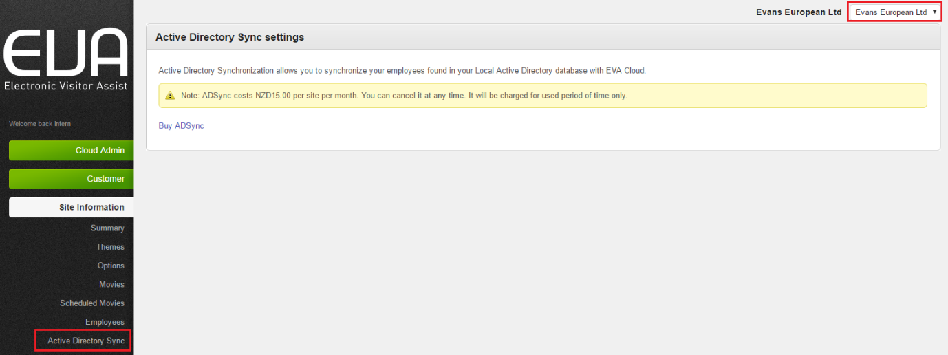 Figure 2: Active Directory Sync Tab
