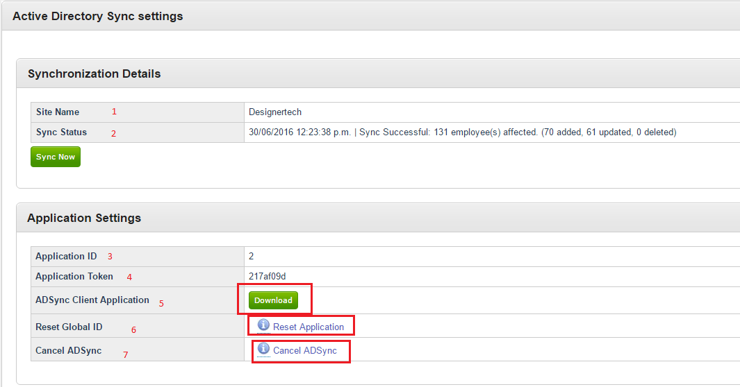 Figure 3: Active Directory Sync Settings Page