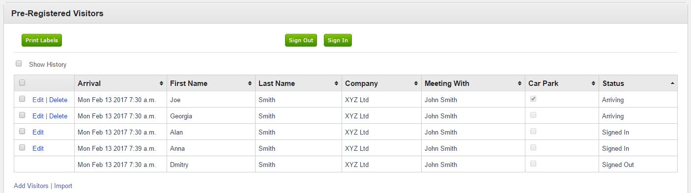 Pre-Registration menu in the EVA Visitor Management System