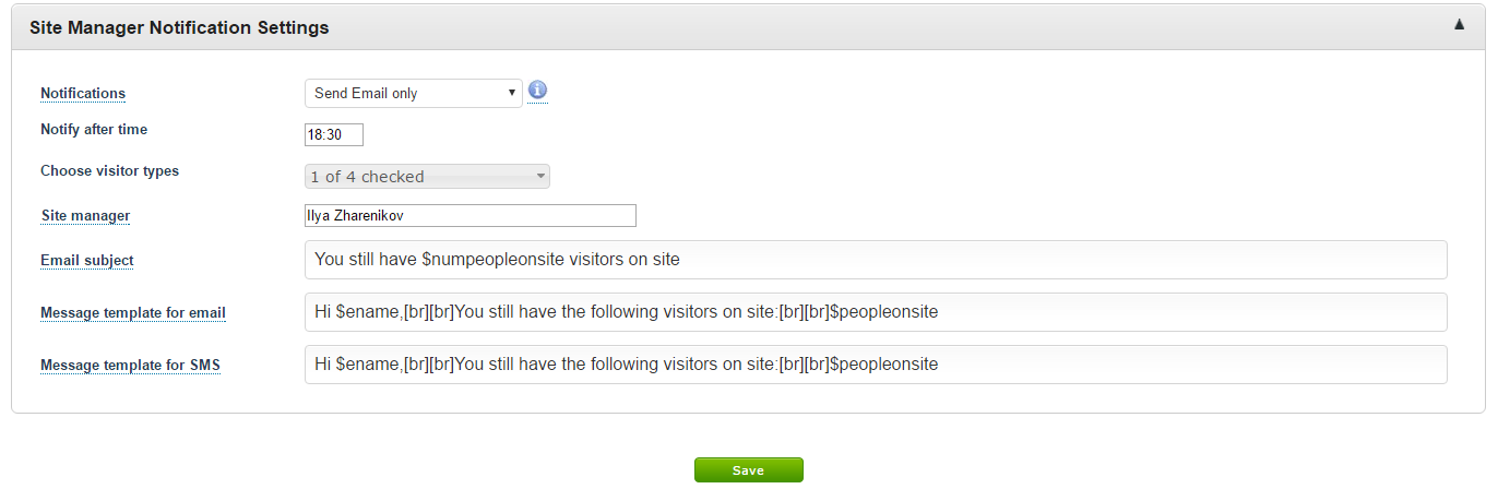 Settings for configuring Site Manager notifications in EVA Receptionist Visitor Management system