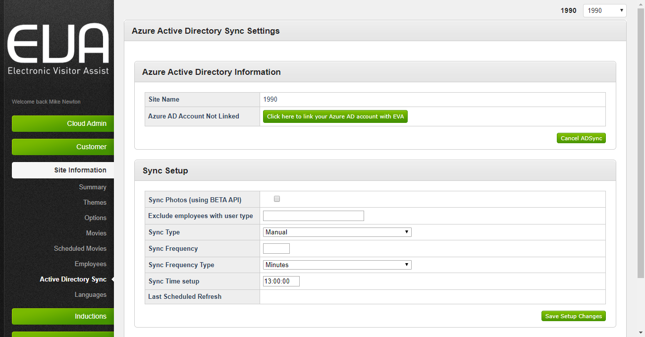 figure 3: Azure Active Directory Sync Settings