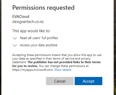 Figure 4: Azure AD Sync Permissions Request.