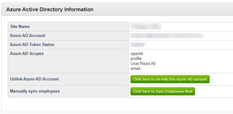Figure 5: Azure Active Directory Information