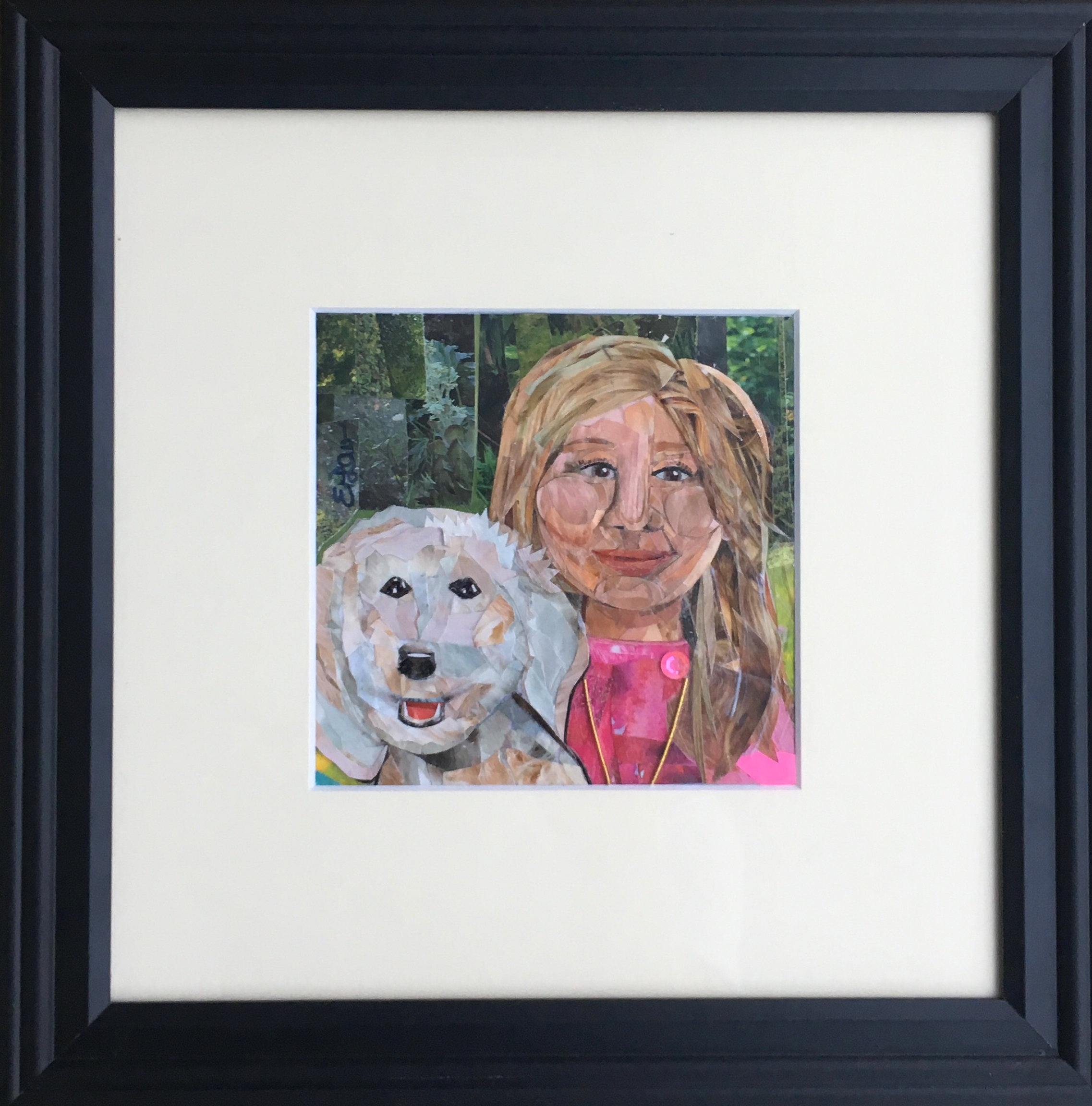 5x5 inch mini, Girl and her Dog, created for a college graduate 2018