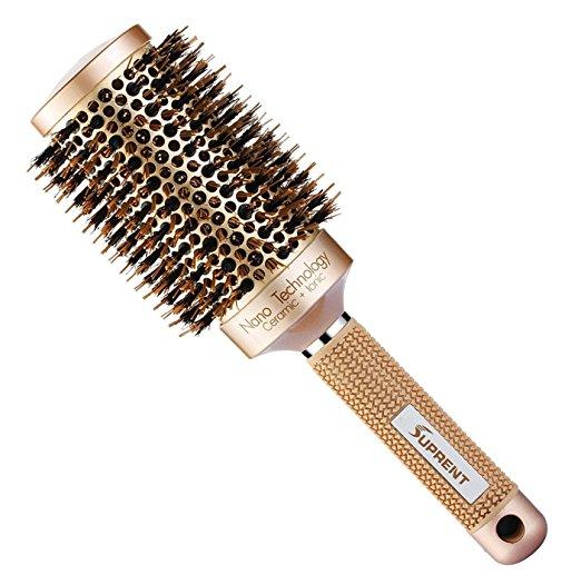 SUPRENT Nano Thermal Ceramic & Ionic Round Barrel Hair Brush with Boar Bristle  16.99 Amazon
