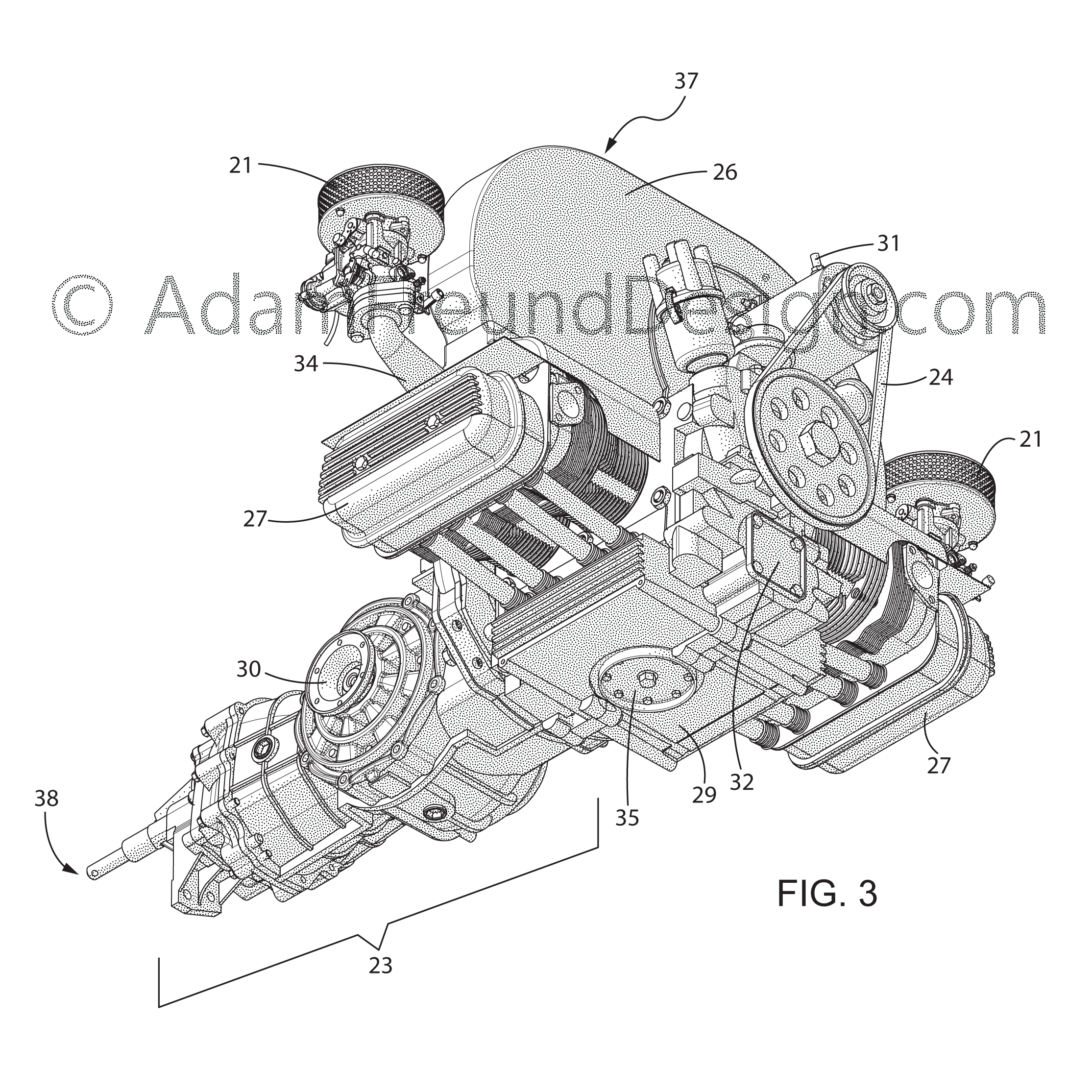Car engine utility patent drawing