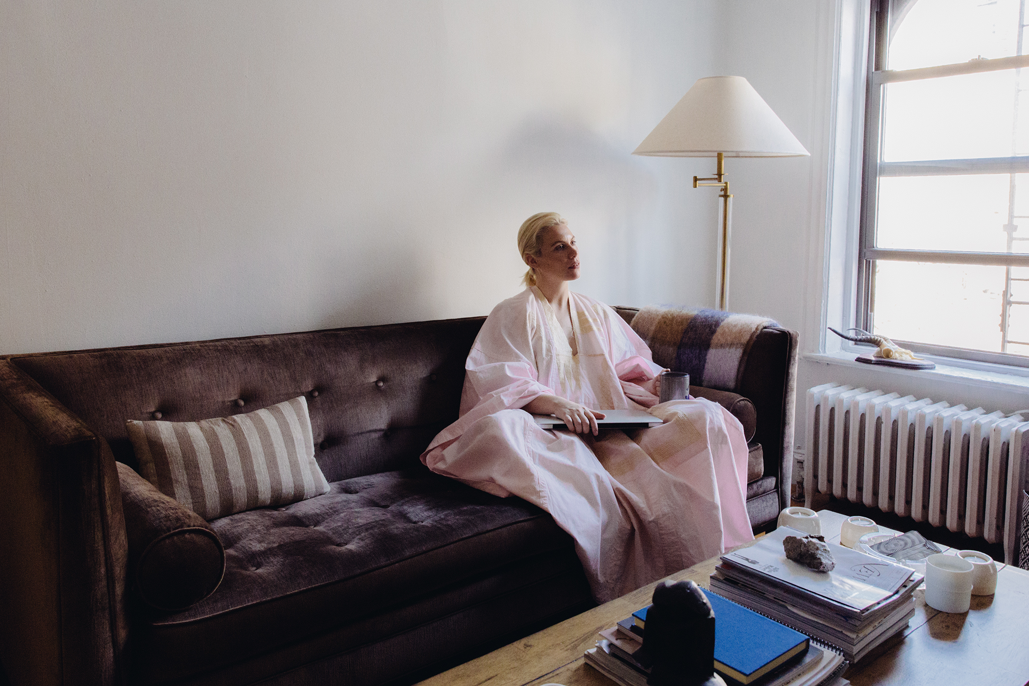 Julia's morning starts with the menial things--emails & coffee--in a not-so-menial robe.