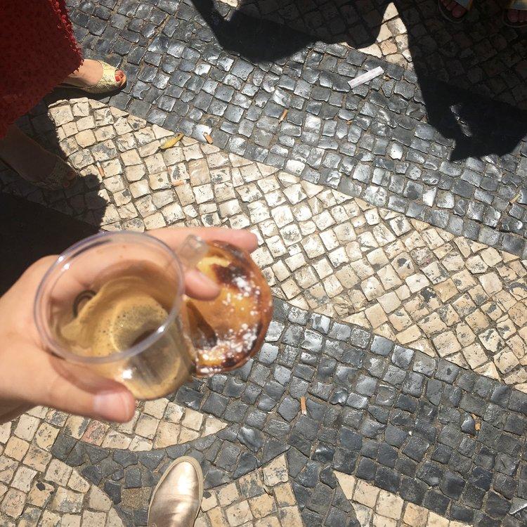 espresso + a pasteis de nata from Manteigaria.