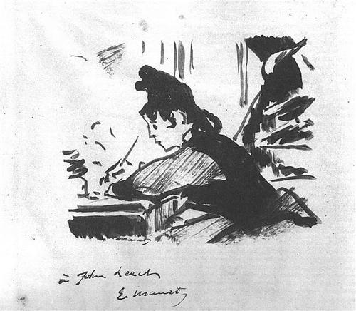 """Woman Writing"" by Edward Manet"