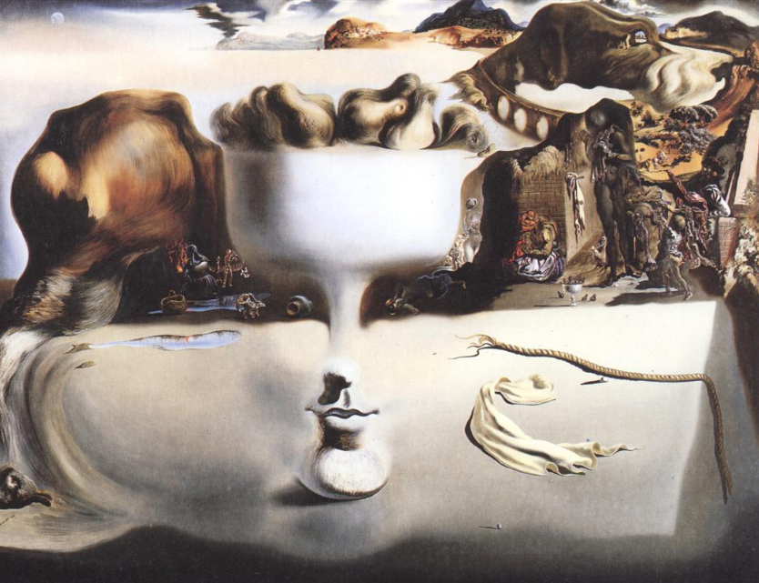 """""""Apparition of Face and Fruit Dish on a Beach"""" by Salvador Dali (1938)"""