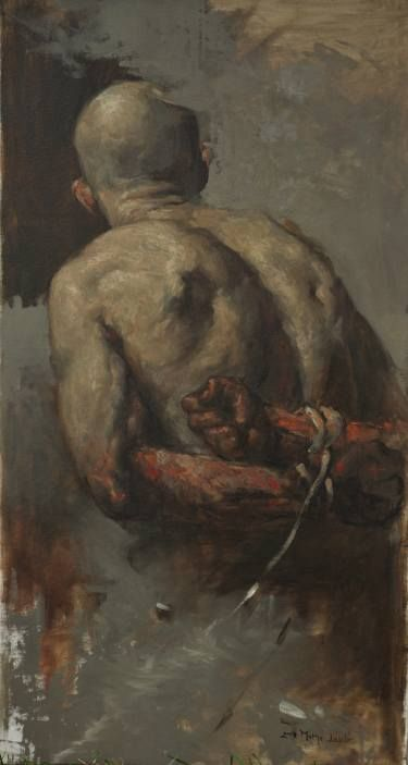 """By Laszio Mathe """"Prisoner"""" (https://www.saatchiart.com/art/Painting-Prisoner-after-Bencz-r-Gyula/758664/2625619/view) This is a study of Gyula Benczur's """"Recapture of Buda Castle from the Turks,"""" 1686--but Mathe brings so much more depth and feeling to his study than was present in the original. Masterful work."""