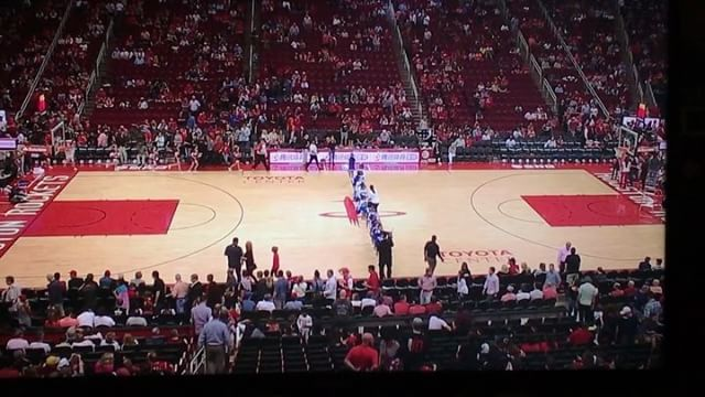 """""""Alright so I went ahead and booked 450 jr cheerleaders for tonight's halftime show."""" """"Why?"""" """"Not a clue."""" #halftimeshow #basketball #houston #rockets"""