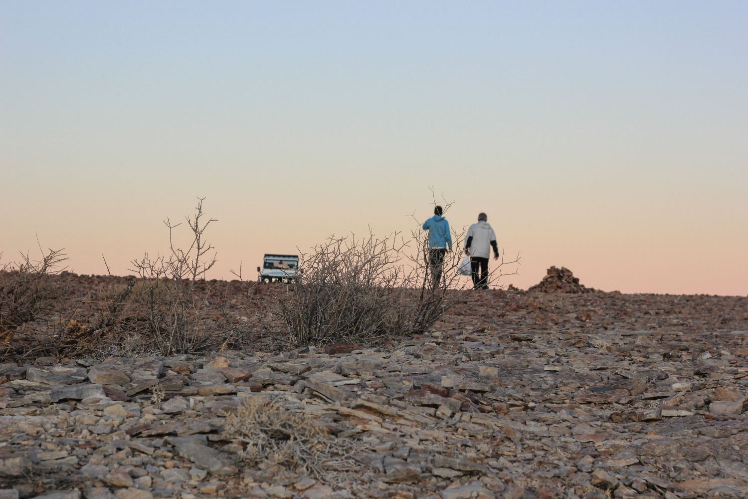 Leaving the Land Rover for sundowners at the Fish River Canyon
