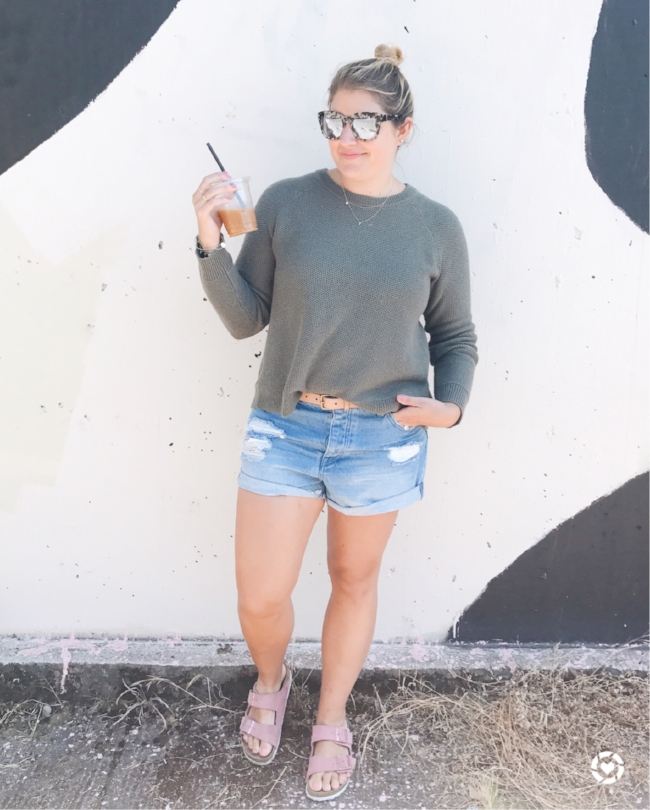 sweater //   cross-back pullover sweater  {comes in 5 colors!}; shorts //   rolled denim shorts ;  belt //   southwestern stitch belt ;  sandals // sold out, similar   birkenstocks