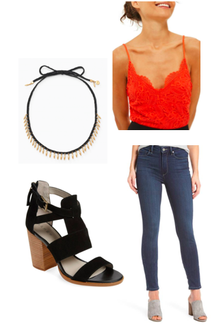 necklace //   fringe necklace ;  top //     scalloped lace bodysuit ;  shoes//  cora block heel  ; jeans //   paige high waist jeans