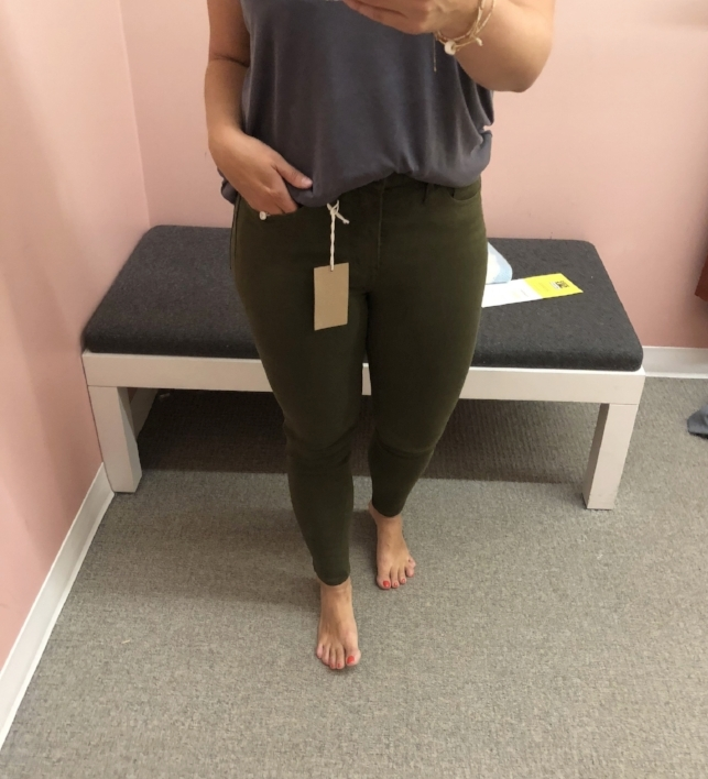 Madewell high waist jeans  (olive green) // loving this color for fall and goes with everything. fits true to size!