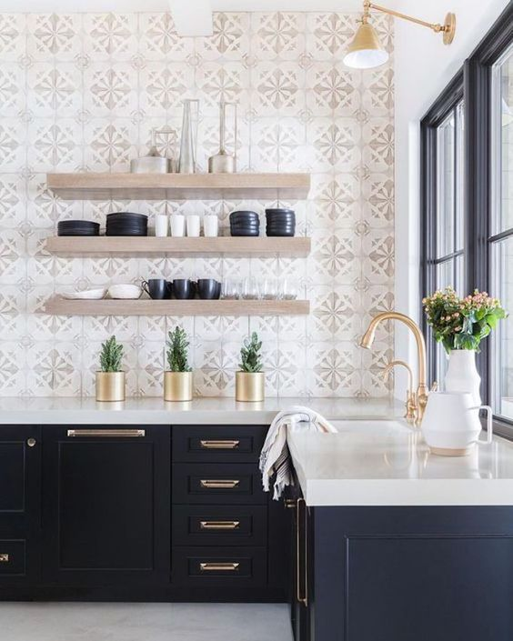 This was my inspiration for the printed tile with floating shelves. Our shelves are almost this exact color! Image found on  Pinterest  via Becki Owens.