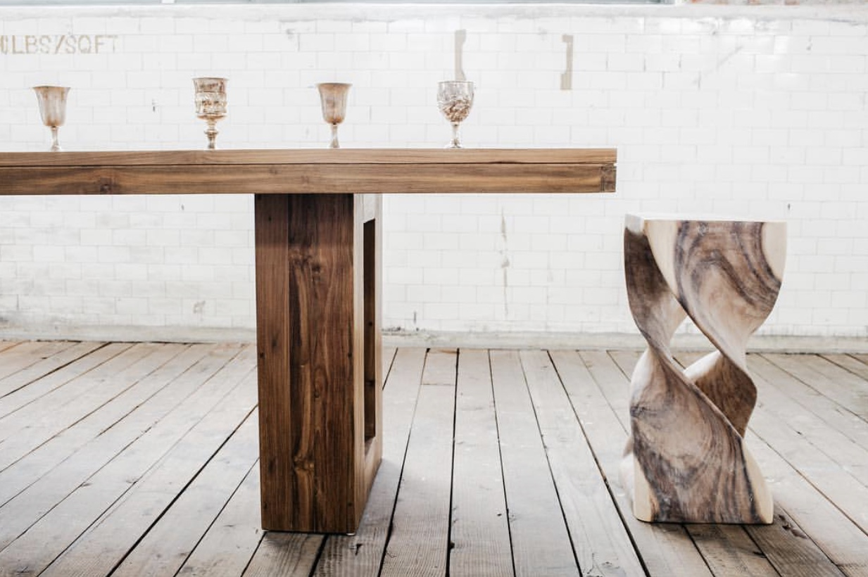Here is a sneak peek of what the dining room table will look like! It's 8 feet long and can seat up to 10 people.