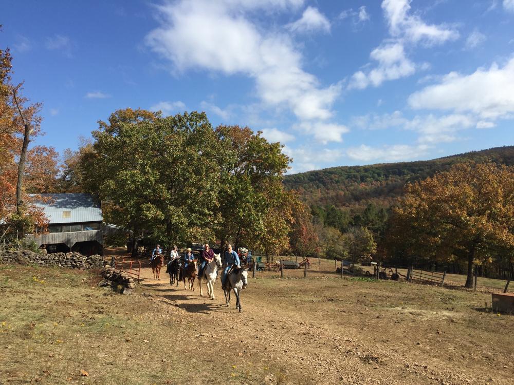 Sunny day horseback riding at Rimrock Cove Ranch